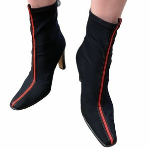 Cianni Vintage Black and red Pinstripe Sock Boots